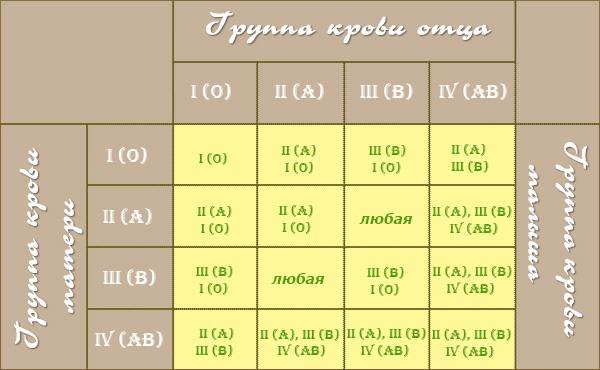 Совместимость групп крови для зачатия: ребенка, таблица резус ...
